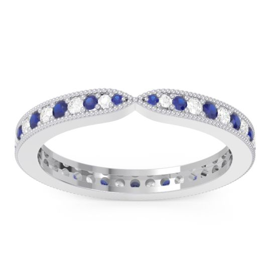 Blue Sapphire Eternity Parisrta Band with Diamond in 14k White Gold