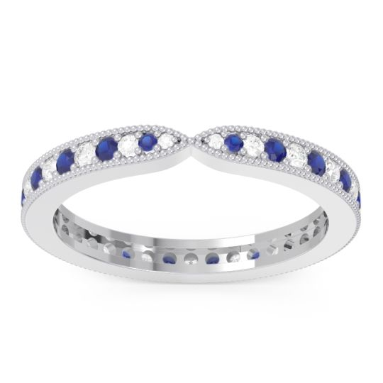 Eternity Parisrta Diamond Band with Blue Sapphire in 14k White Gold