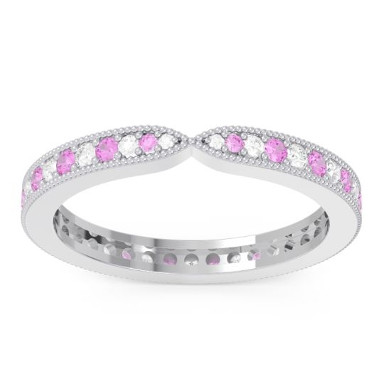 Diamond Eternity Parisrta Band with Pink Tourmaline in 14k White Gold