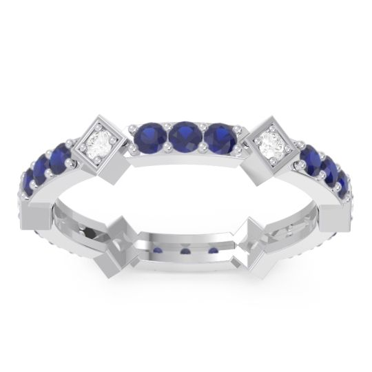 Eternity Kagkana Blue Sapphire Band with Diamond in 14k White Gold