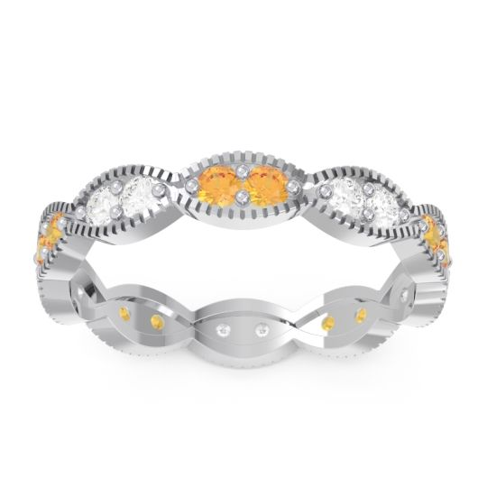 Half Eternity Somaraji Citrine Band with Diamond in 14k White Gold