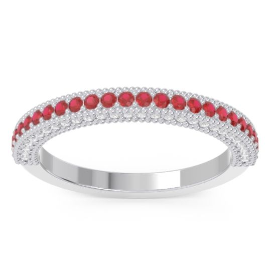 Ruby Half Eternity Purana Band with Diamond in 14k White Gold