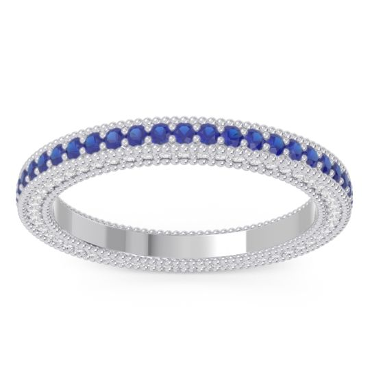 Blue Sapphire Eternity Purana Band with Diamond in 14k White Gold