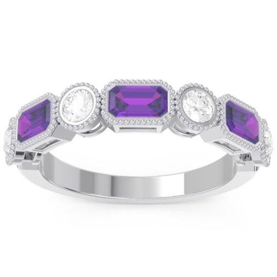 Half-Eternity Methati Amethyst Band with Diamond in 14k White Gold