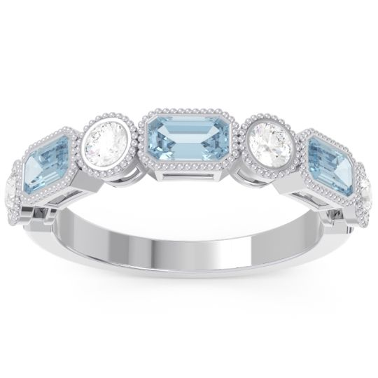Half-Eternity Methati Aquamarine Band with Diamond in 14k White Gold