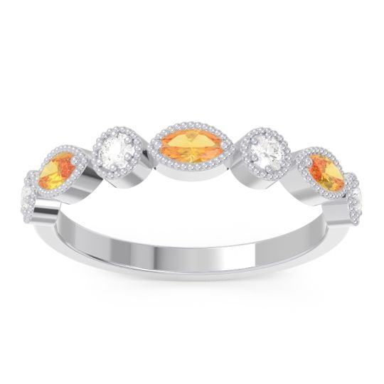 Citrine Half Eternity Zanais Band with Diamond in 14k White Gold