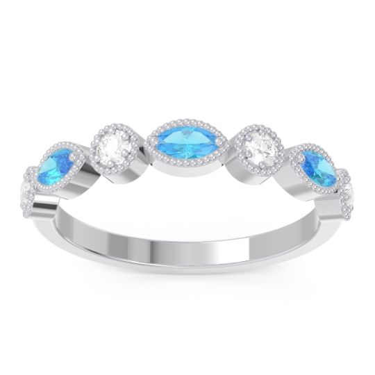 Swiss Blue Topaz Half Eternity Zanais Band with Diamond in 14k White Gold