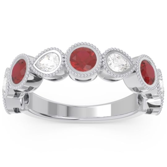 Half Eternity Adarza Ruby Band with Diamond in 14k White Gold