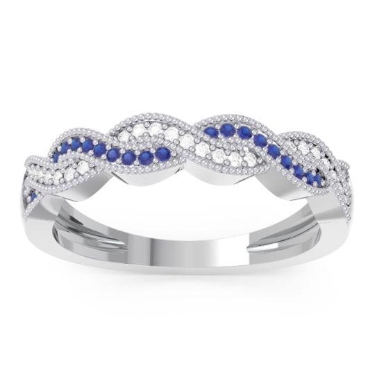 Blue Sapphire Half Eternity Sraj Band with Diamond in 14k White Gold