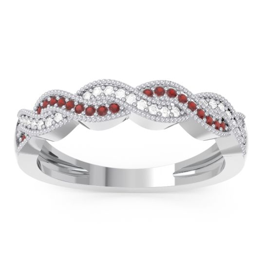 Garnet Half Eternity Sraj Band with Diamond in 14k White Gold
