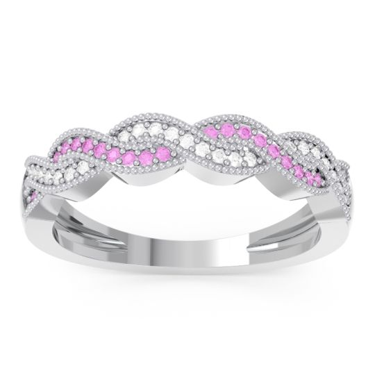 Half Eternity Sraj Pink Tourmaline Band with Diamond in 14k White Gold
