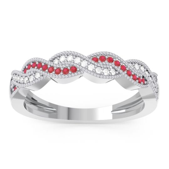 Half Eternity Sraj Ruby Band with Diamond in 14k White Gold