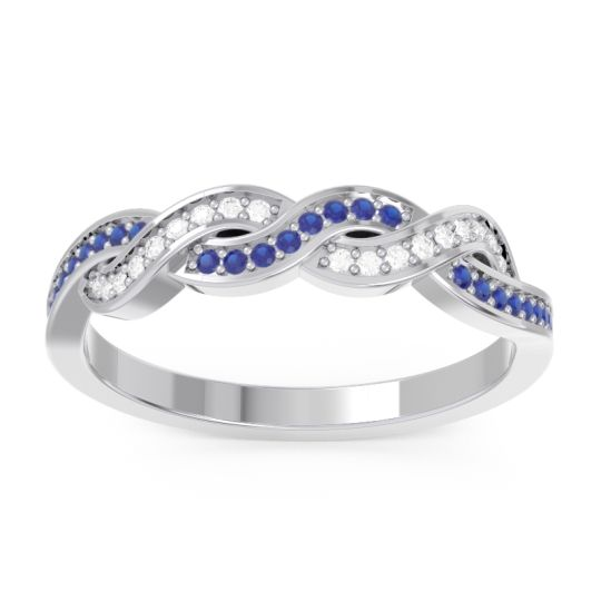 Half Eternity Vemaka Blue Sapphire Band with Diamond in 14k White Gold
