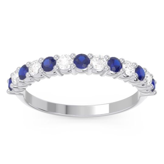 Half Eternity Carana Blue Sapphire Band with Diamond in 14k White Gold