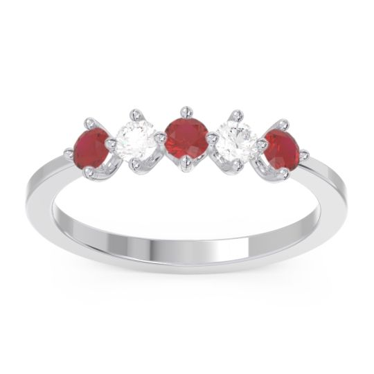 Modern Rohin Ruby Band with Diamond in 14k White Gold