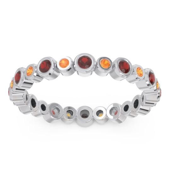 Garnet Eternity Yesati Band with Citrine in Platinum