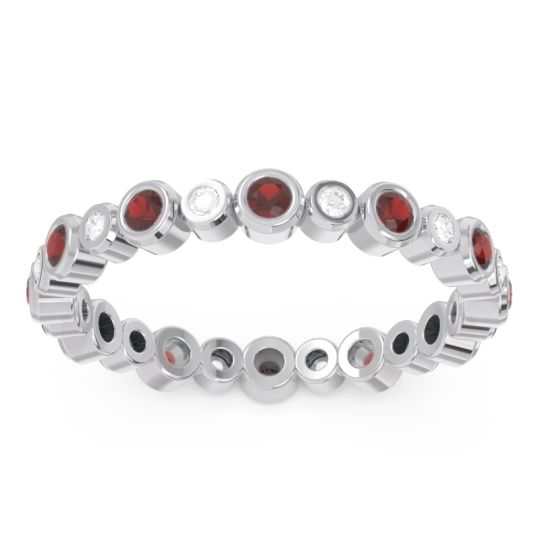 Garnet Eternity Yesati Band with Diamond in 14k White Gold
