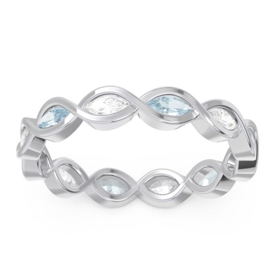 Eternity Apidita Aquamarine Ring with Diamond in 14k White Gold