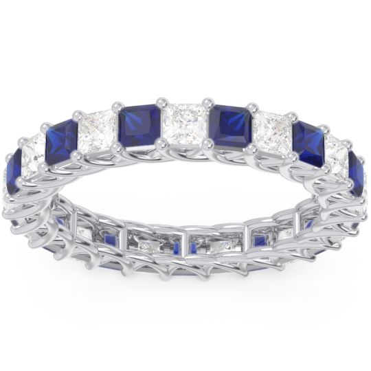 Eternity Sacakra Blue Sapphire Band with Diamond in 14k White Gold