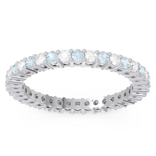 Eternity Devacakra Aquamarine Band with Diamond in 14k White Gold