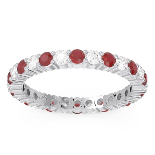 Ruby Eternity Rathagga Band with Diamond in 14k White Gold