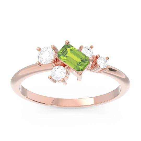 Pave Nikara Peridot Ring with Diamond in 14K Rose Gold