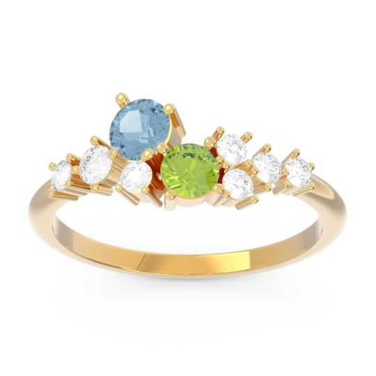 Pave Razi Aquamarine Ring with Peridot and Diamond in 14k Yellow Gold