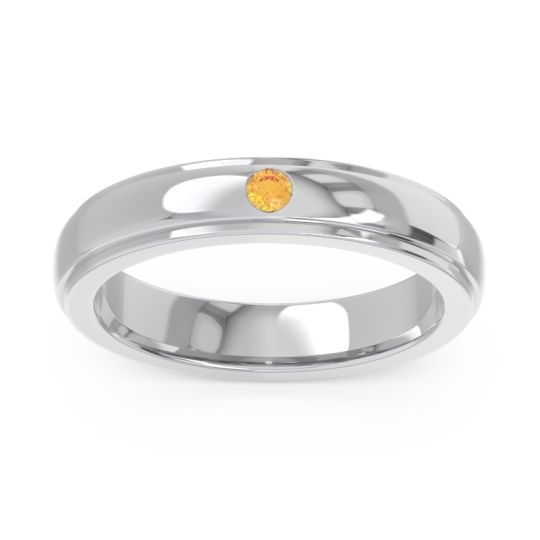 Simple Beveled Flat Edge Bezel Purna Citrine Ring in 14k White Gold
