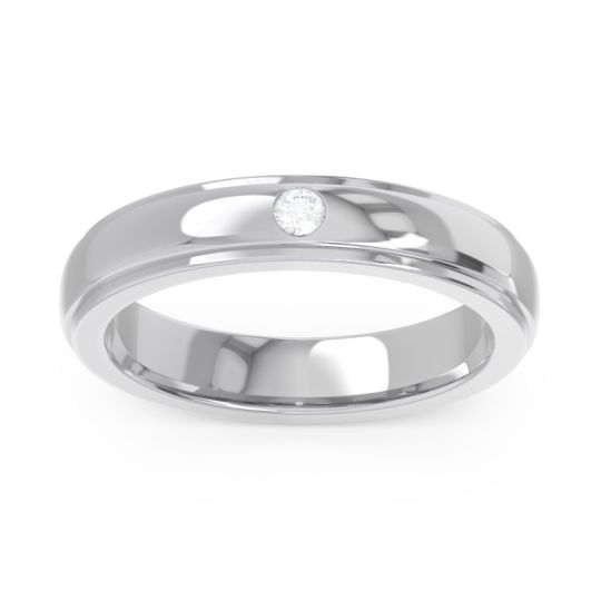 Simple Beveled Flat Edge Bezel Purna Diamond Ring in 14k White Gold