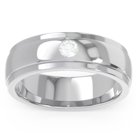 Diamond Polished Beveled Flat Edge Bezel Purna Ring in 14k White Gold