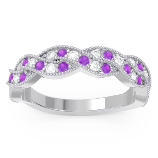 Half Eternity Milgrain Pave Tantvaya Amethyst Band with Diamond in 14k White Gold