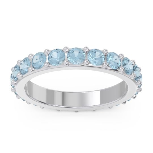 Eternity Pave Nityata Aquamarine Band in 14k White Gold
