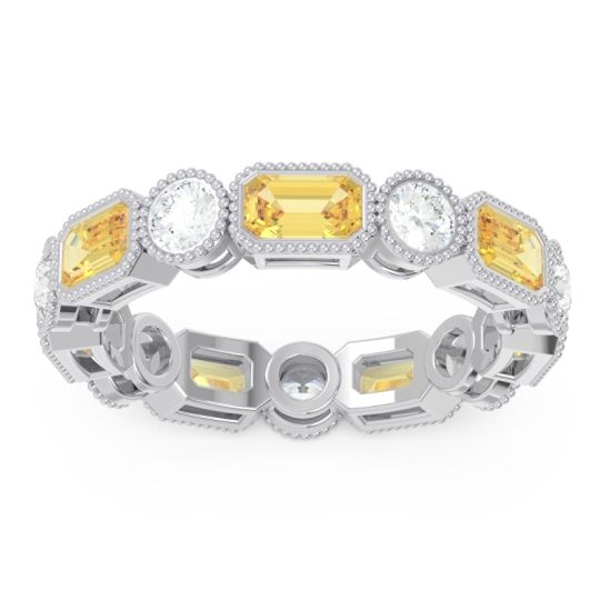 Art Deco Milgrain Bezel Viparita Citrine Band with Diamond in 14k White Gold