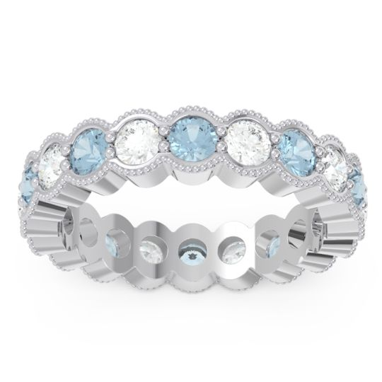 Aquamarine Eternity Milgrain Pave Gutika Band with Diamond in 14k White Gold