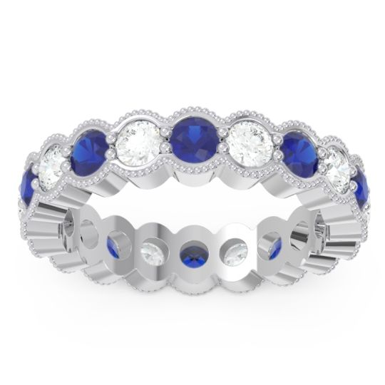 Eternity Milgrain Pave Gutika Blue Sapphire Band with Diamond in 14k White Gold