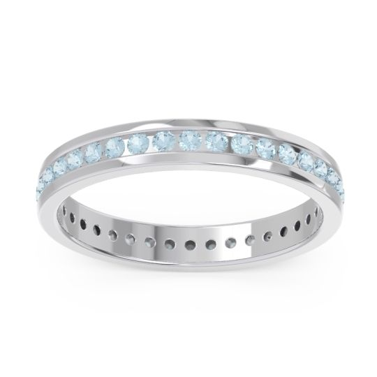 Eternity Strota Aquamarine Band in 14k White Gold