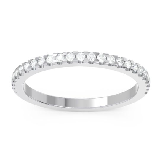 Half Pave Pelava Diamond Band in 14k White Gold
