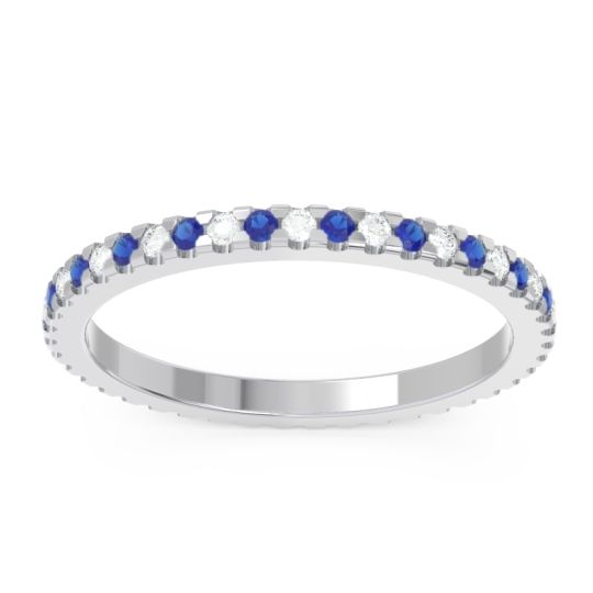 Diamond Eternity Pave Musti Band with Blue Sapphire in 14k White Gold