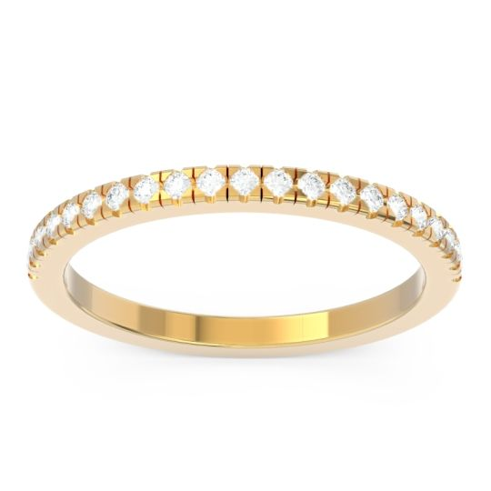 Diamond Half Eternity Pave Kona Band in 14k Yellow Gold
