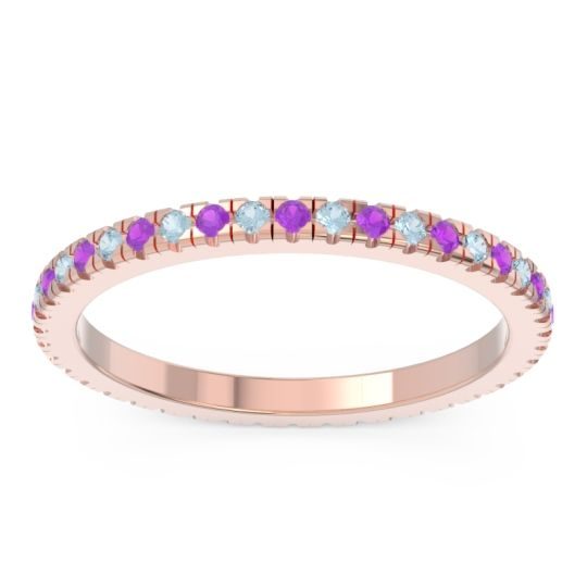 Amethyst Eternity Pave Kona Band with Aquamarine in 18K Rose Gold