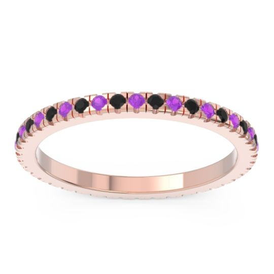 Amethyst Eternity Pave Kona Band with Black Onyx in 14K Rose Gold