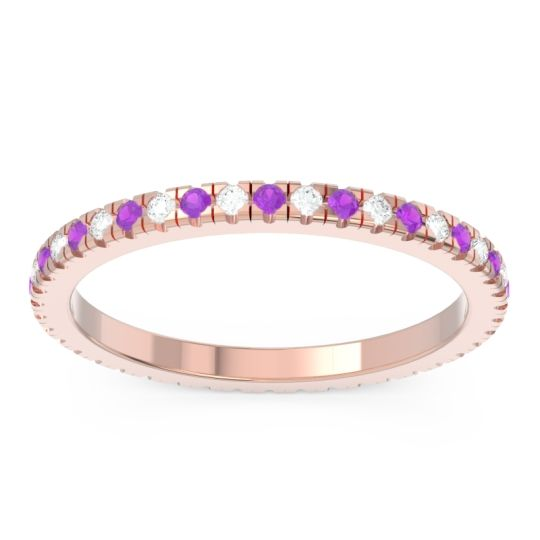 Amethyst Eternity Pave Kona Band with Diamond in 18K Rose Gold