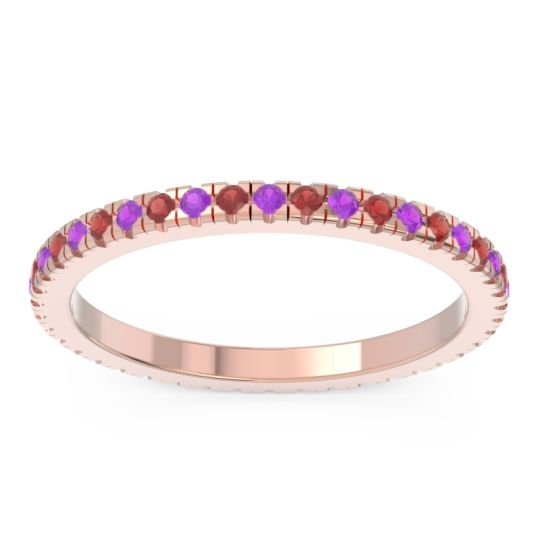 Eternity Pave Kona Amethyst Band with Garnet in 18K Rose Gold