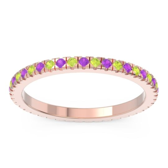 Amethyst Eternity Pave Kona Band with Peridot in 18K Rose Gold