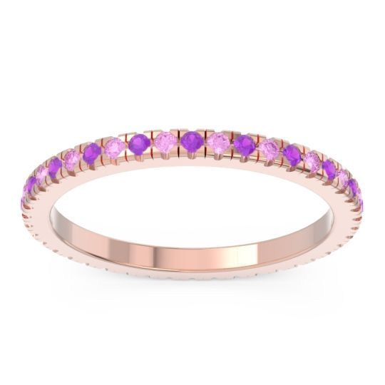 Amethyst Eternity Pave Kona Band with Pink Tourmaline in 14K Rose Gold