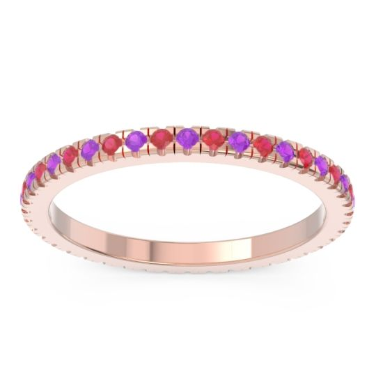 Amethyst Eternity Pave Kona Band with Ruby in 18K Rose Gold