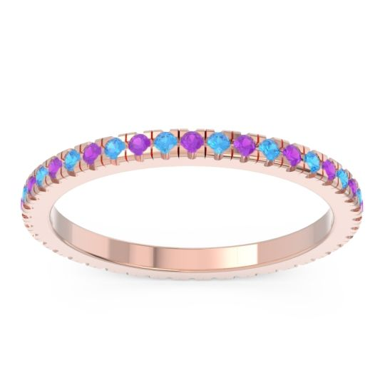 Eternity Pave Kona Amethyst Band with Swiss Blue Topaz in 18K Rose Gold