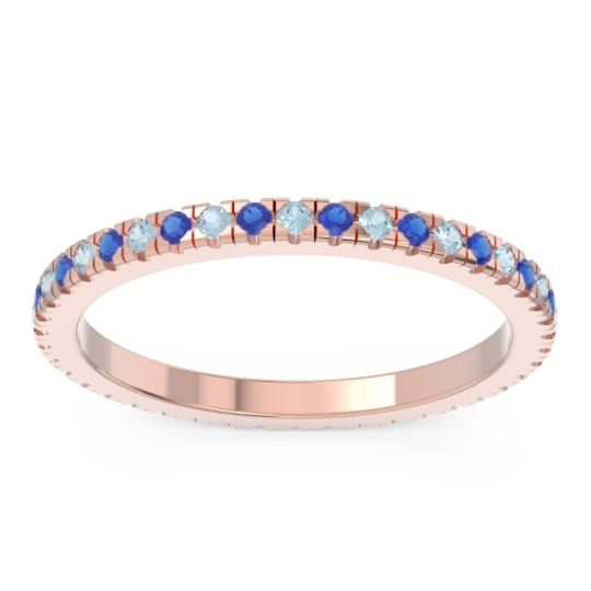 Eternity Pave Kona Aquamarine Band with Blue Sapphire in 18K Rose Gold