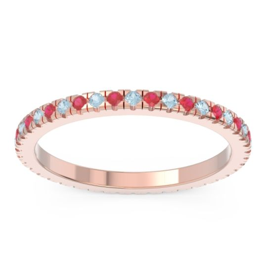 Eternity Pave Kona Aquamarine Band with Ruby in 14K Rose Gold