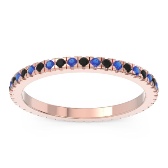 Eternity Pave Kona Black Onyx Band with Blue Sapphire in 18K Rose Gold